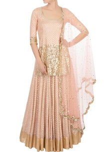 coral-pink-gold-sequin-kurta-set