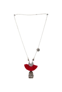 red-silver-tasseled-matinee-necklace
