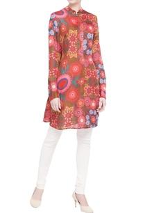 multicolored-floral-satin-linen-kurta