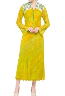 yellow-printed-chiffon-midi-dress