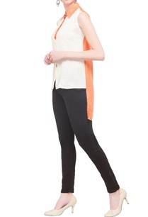 white-orange-crepe-georgette-color-blocked-shirt