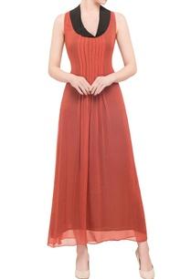 rust-black-georgette-pleated-maxi-dress