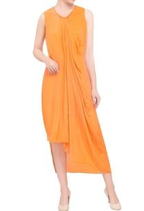 orange-crepe-asymmetrical-midi-dress