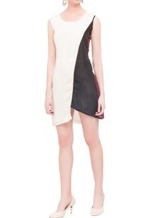 black-beige-crepe-short-dress