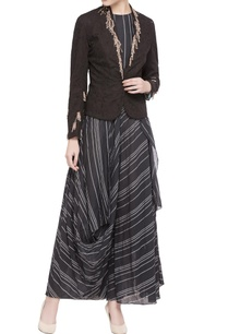 black-hand-woven-stripe-draped-dress-with-jacket