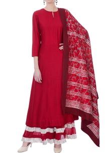red-printed-kurta-lehenga