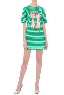 green-white-striped-hand-motif-dress