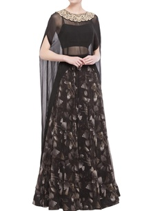 black-gingko-print-skirt-blouse-with-cape