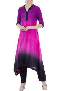 black-purple-color-block-pure-silk-kurta