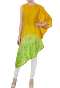 yellow-green-silk-one-shoulder-kurta