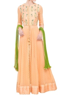 peach-raw-silk-zardozi-anarkali-set-with-green-dupatta