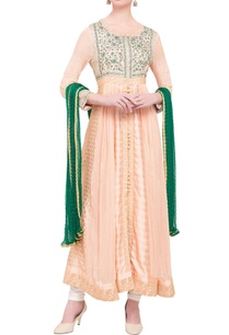pink-green-viscose-silk-gota-work-kurta-with-dupatta