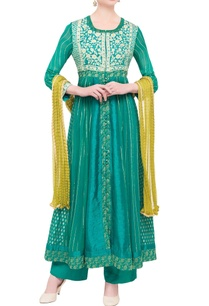 teal-green-green-viscose-silk-gota-work-kurta-set-with-dupatta