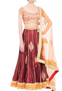 peach-maroon-brocade-silk-gota-work-lehenga-set