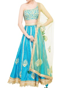 blue-green-brocade-gota-work-lehenga-set