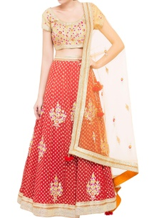 beige-red-brocade-silk-lehenga-set-with-orange-dupatta