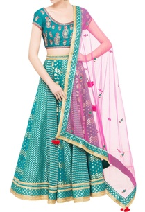 teal-blue-chanderi-brocade-zardozi-work-lehenga-set-with-pink-dupatta
