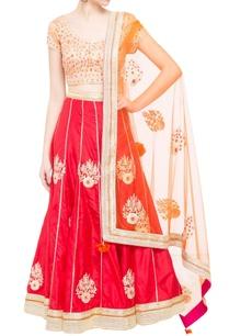 beige-red-brocade-silk-lehenga-set-with-orange-dupatta