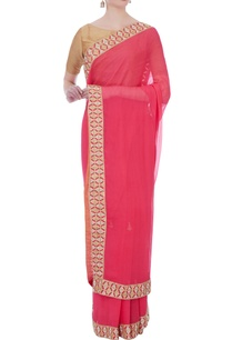 pink-chiffon-embellished-border-sari