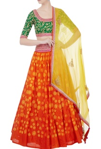 orange-shibori-lehenga-with-blouse-dupatta