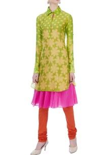 green-pink-double-layer-kurta