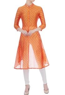 orange-chanderi-geometric-kurta