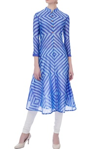 blue-flared-chanderi-kurta