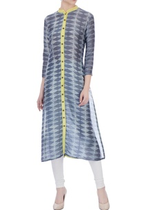 grey-yellow-chanderi-kurta-with-wood-buttons