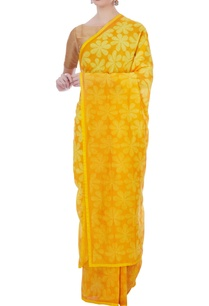 yellow-chanderi-floral-motif-sari