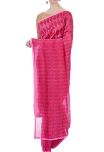 pink-kilim-flat-weave-sari-with-unstitched-blouse-fabric