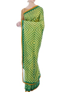green-yellow-geometric-chanderi-sari
