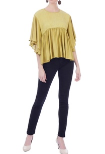 mustard-rayon-cotton-gathered-blouse
