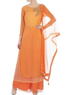 orange-georgette-chiffon-embroidered-kurta-with-dupatta