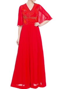red-georgette-sequin-bead-embellished-gown