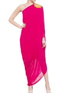 pink-draped-style-one-shoulder-dress