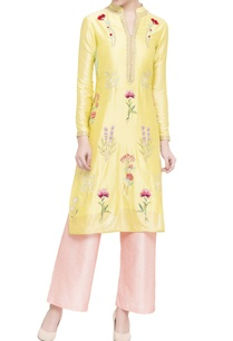 yellow-pink-silk-chanderi-embroidered-kurta-set