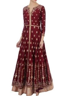 maroon-gota-embroidered-kurta-lehenga