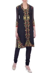 black-embellished-kurta-set