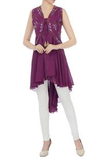purple-high-low-kurta-with-koti-jacket