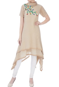 beige-kurta-with-floral-embroidered-tunic