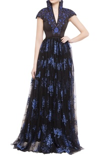 black-navy-blue-embroidered-net-gown