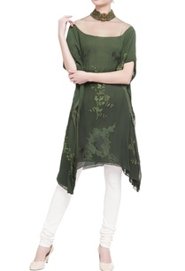 dark-green-tulle-net-high-neck-kaftan
