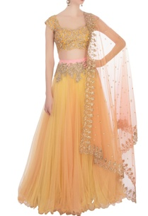 yellow-net-lehenga-set
