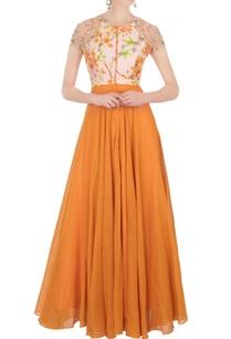 orange-printed-anarkali-churidar-pants
