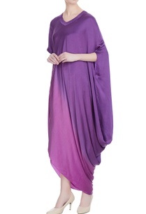 purple-satin-draped-style-dress