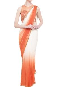 ivory-orange-georgette-embellished-sari-blouse