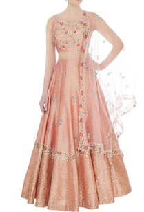 peach-embroidered-blended-silk-lehenga-set