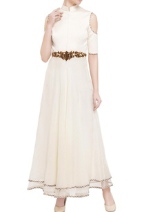 off-white-quilted-bodice-cold-shoulder-gown