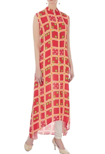 coral-double-georgette-printed-tunic