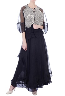black-layered-organza-maxi-skirt